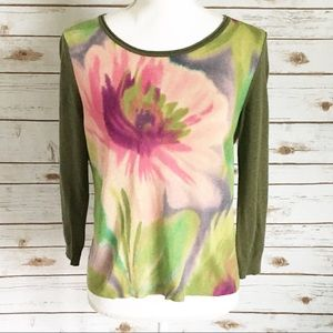 Anthropologie Guinevere Flower Print Sweater